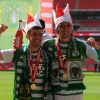 Yeovil players celebrate Wembley win.